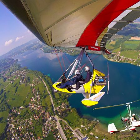 Première leçon de pilotage, une expérience unique en autogire ou en ULM pendulaire face aux Alpes et au Mont Blanc