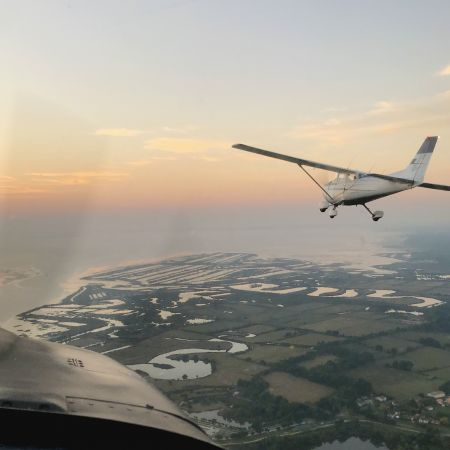 Survol en avion du bassin d'Arcachon